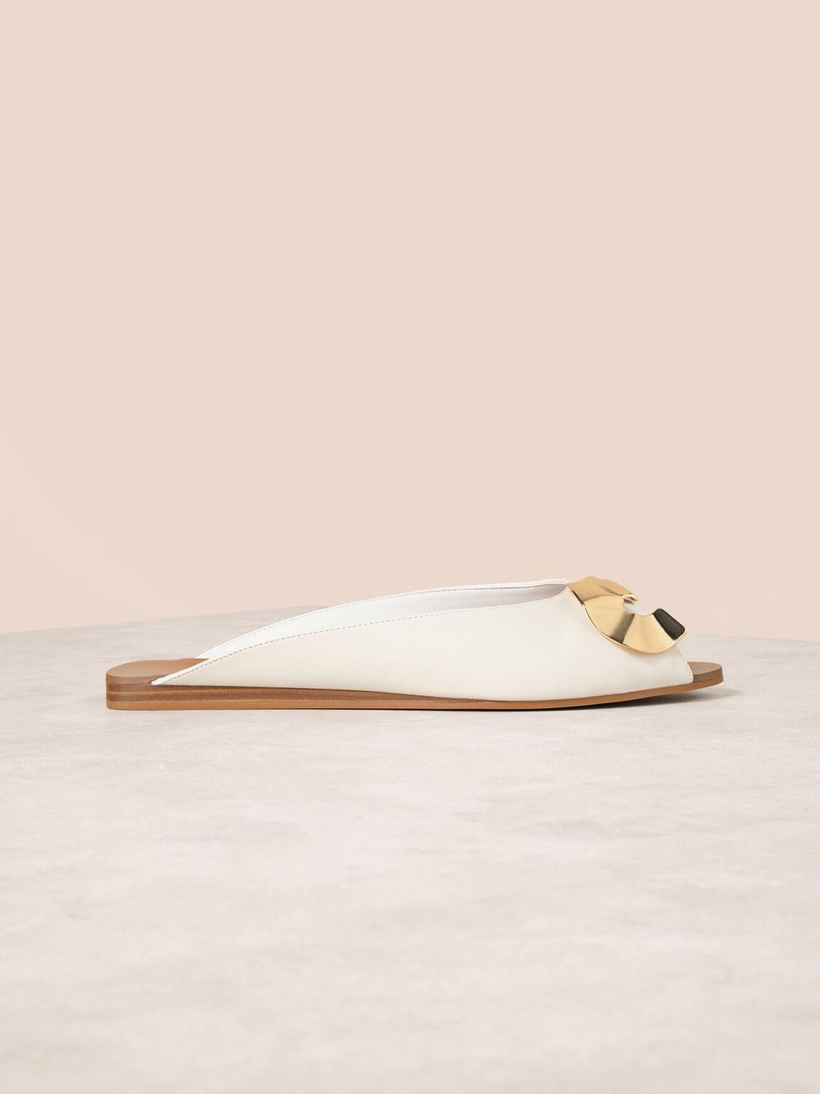 Peep Toe Slip Ons, White, hi-res