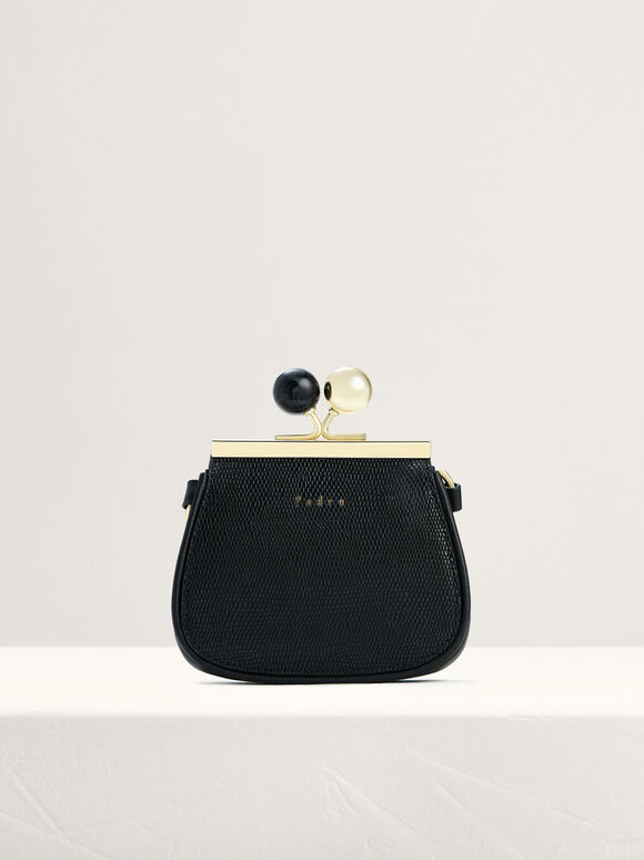Kiss-Lock Leather Micro Bag with Lizard Effect, Black, hi-res