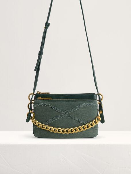 Chain-embellished Mini Shoulder Bag, Green, hi-res