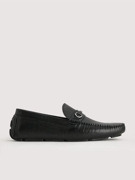 Bit Leather Moccasin, Black, hi-res