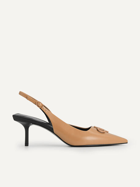 Icon Leather Pointed Toe Slingback Heels, Camel, hi-res