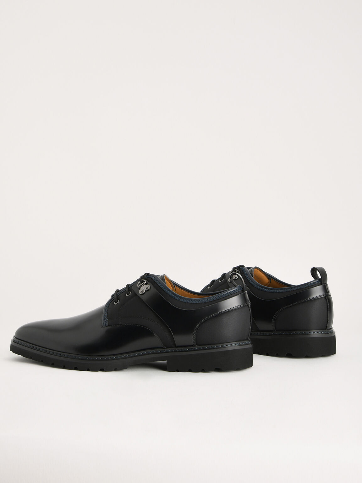Boxed Calf Leather Derby Shoes, Black, hi-res