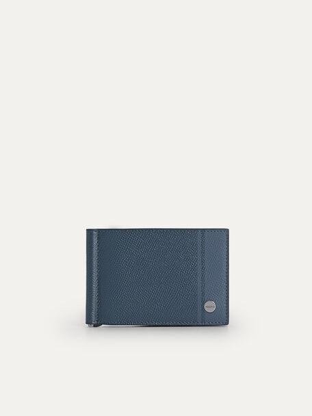 Textured Leather Bi-Fold Wallet, Slate Blue, hi-res