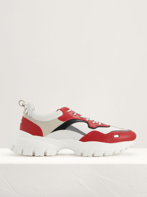 Casual Chunky Sneakers, Red, hi-res