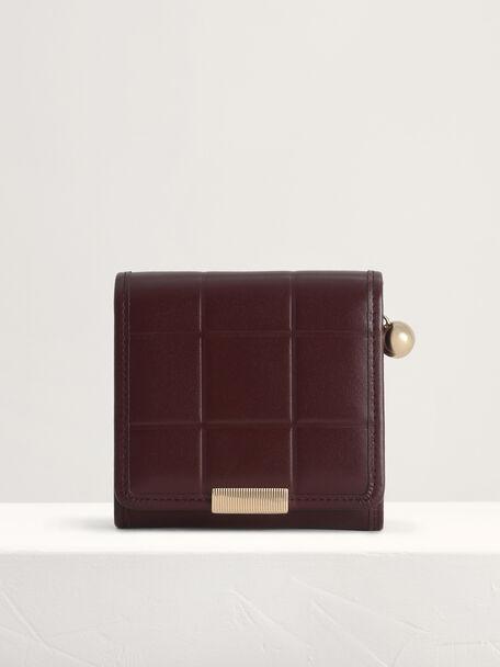 Qulited Leather Wallet, Mahogany, hi-res