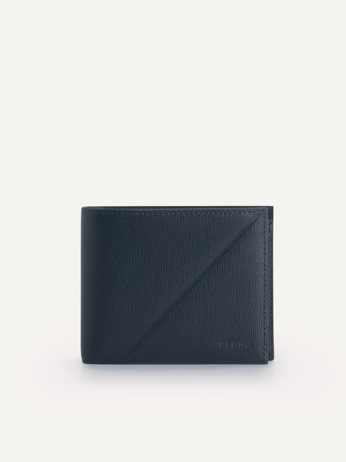 織紋皮革雙折疊錢包帶內膽, 海军蓝色, hi-res