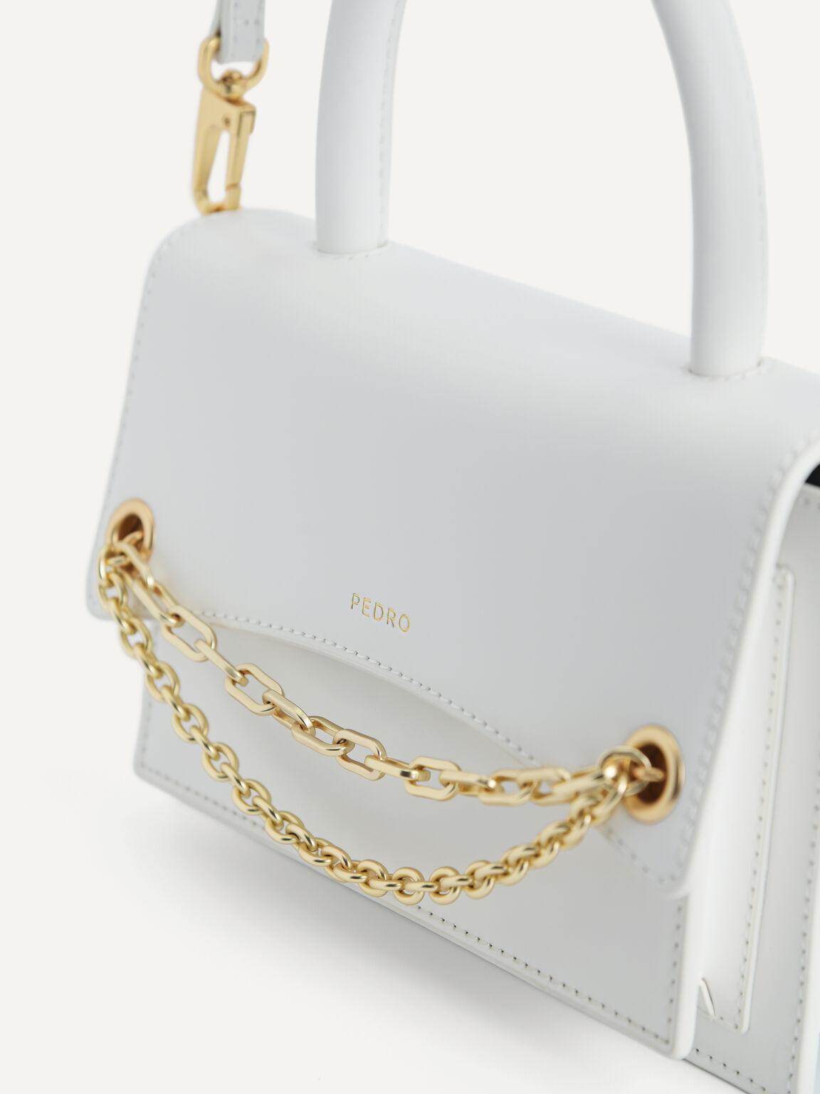 Boxy Leather Top Handle Bag, Chalk, hi-res