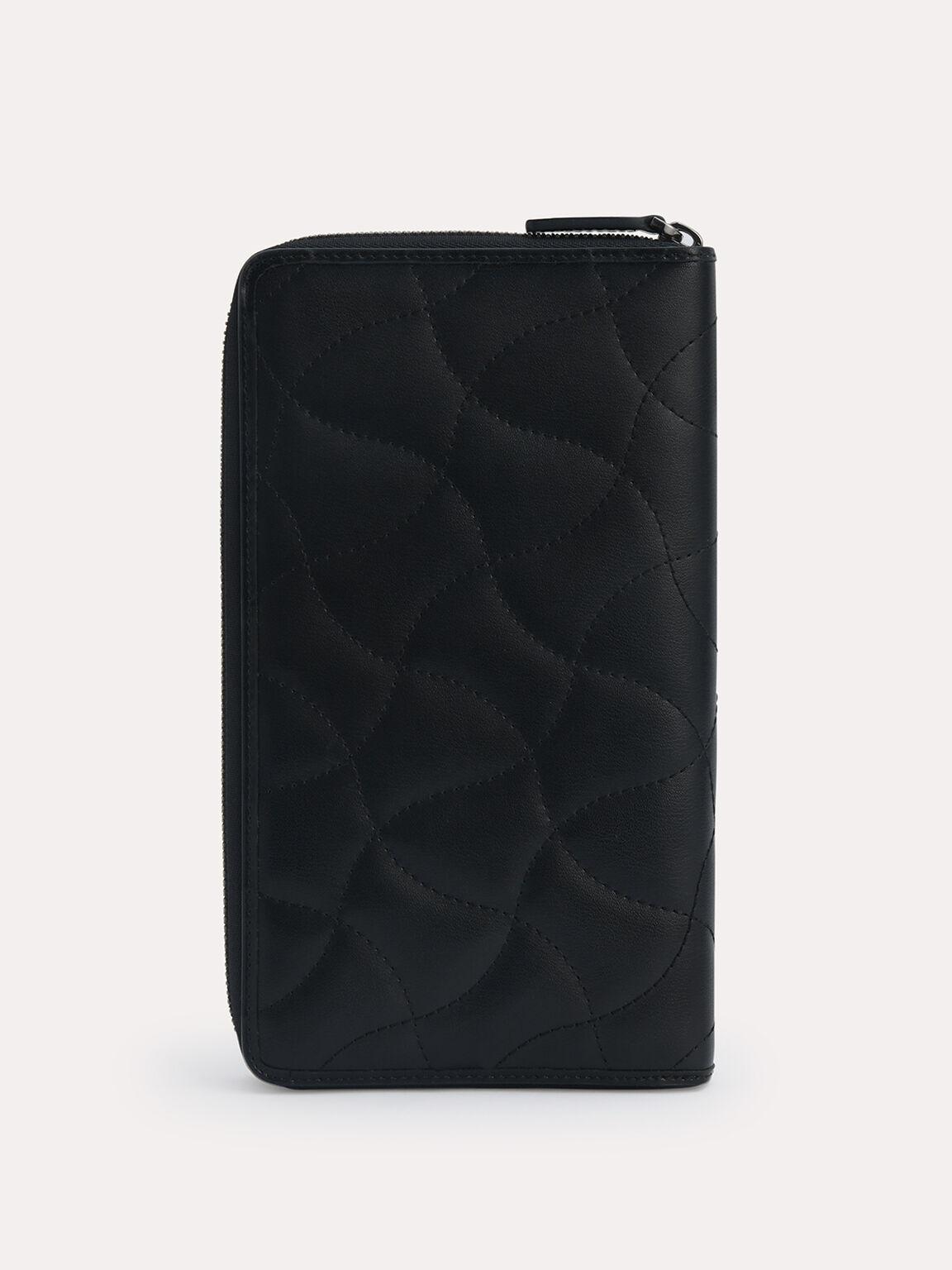 絎縫皮革旅行包, 黑色, hi-res