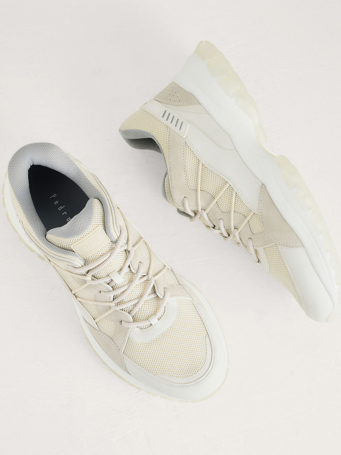 Cord Laced Sneakers, Beige, hi-res