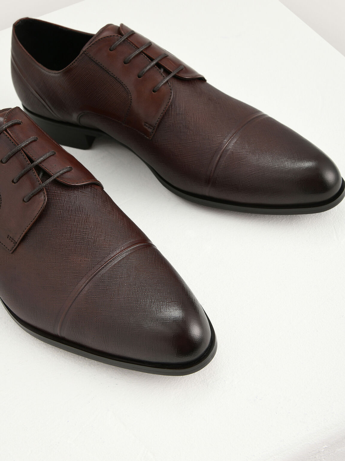 Embossed Leather Derby Shoes, Light Brown, hi-res