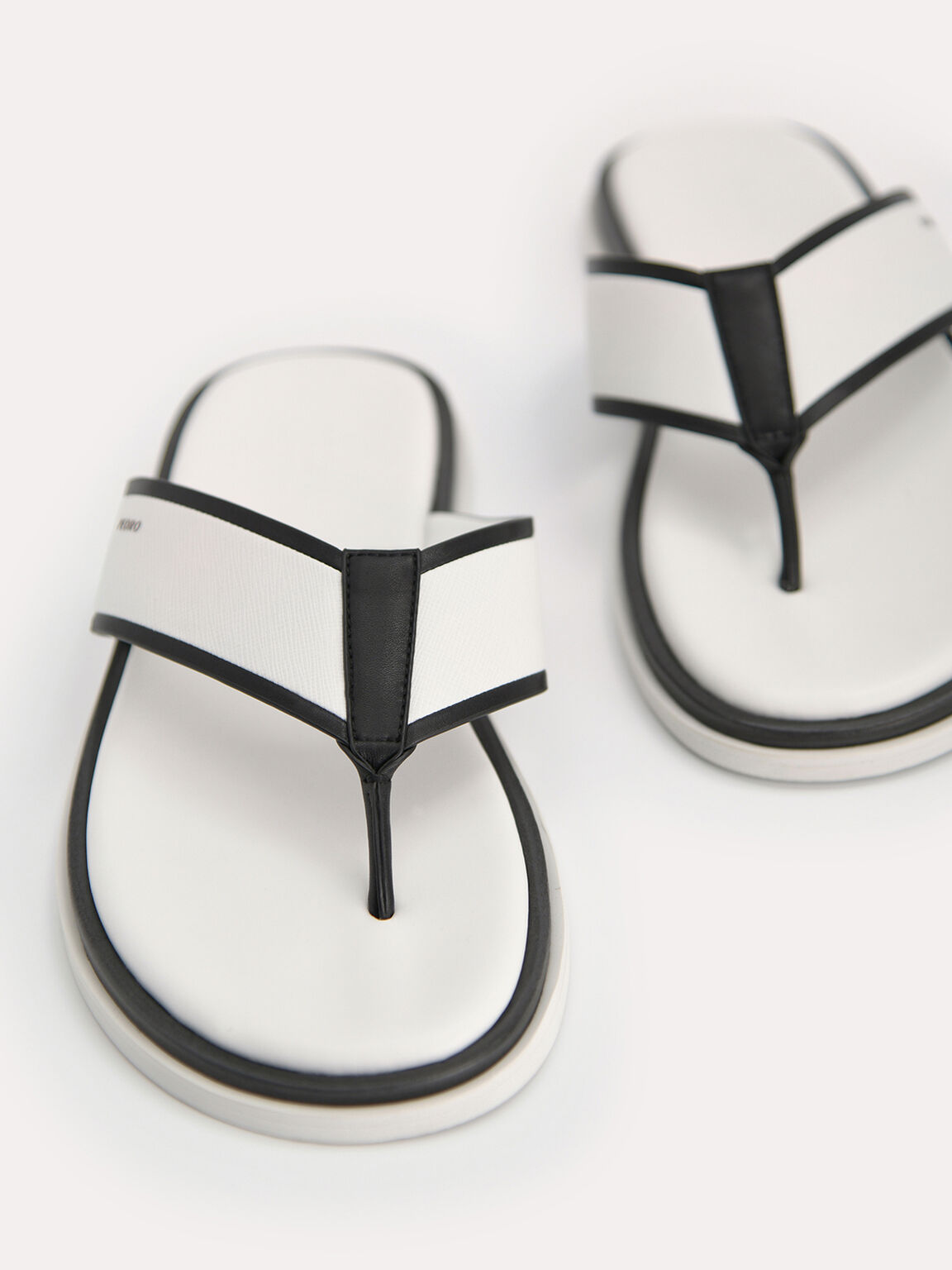 Two-Tone Thong Sandals, White, hi-res