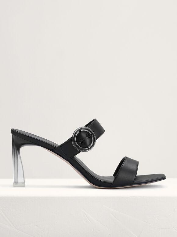 Buckled Heeled Sandals, Black, hi-res