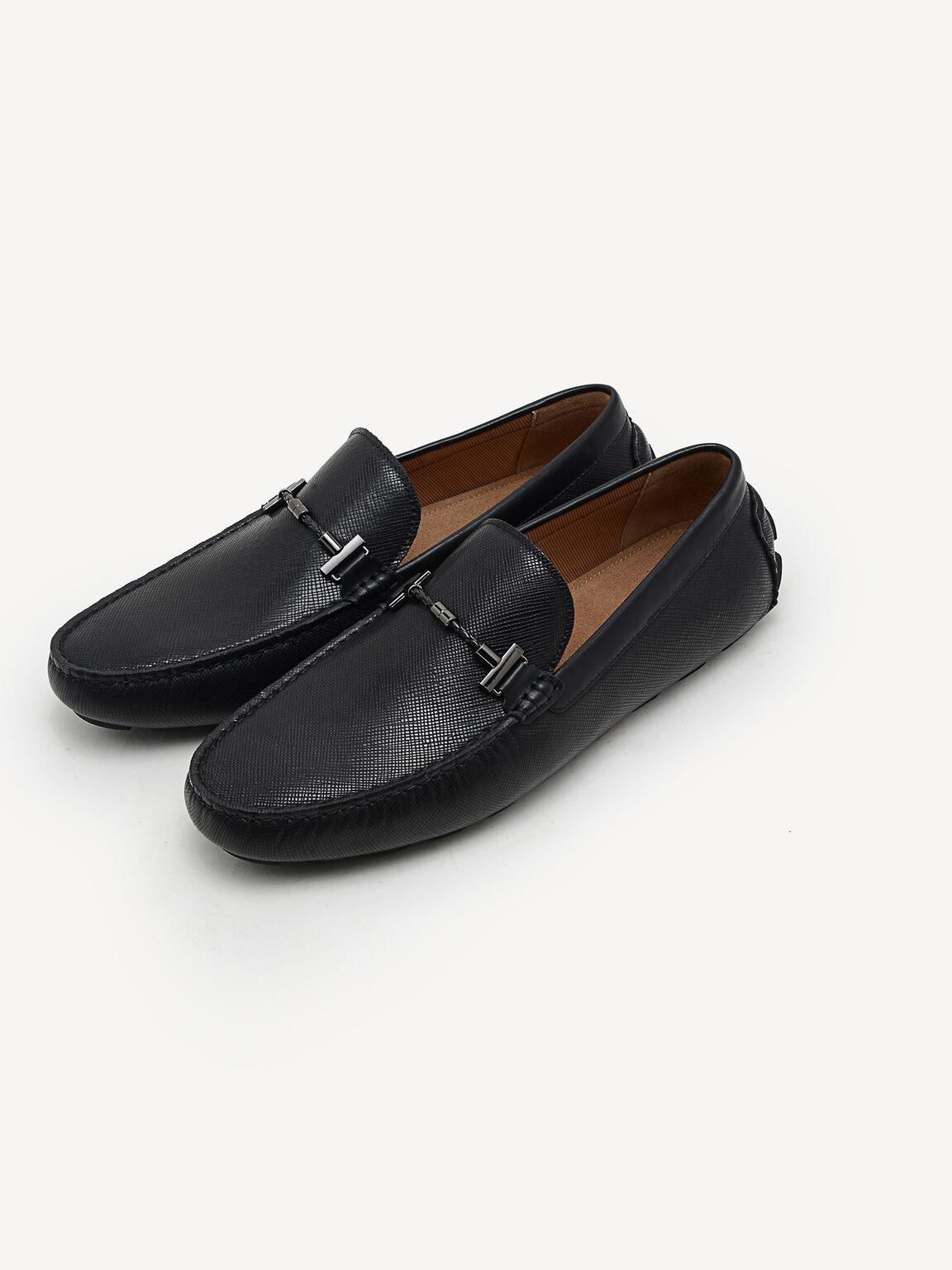 Leather Moccasins, Black, hi-res