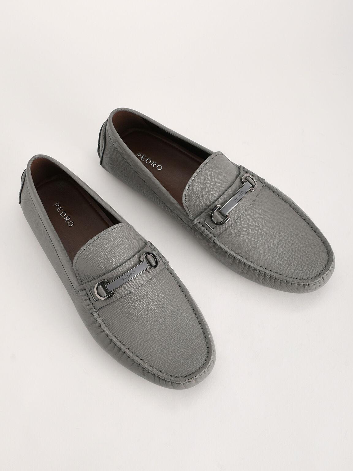 Bit Leather Moccasin, Grey, hi-res