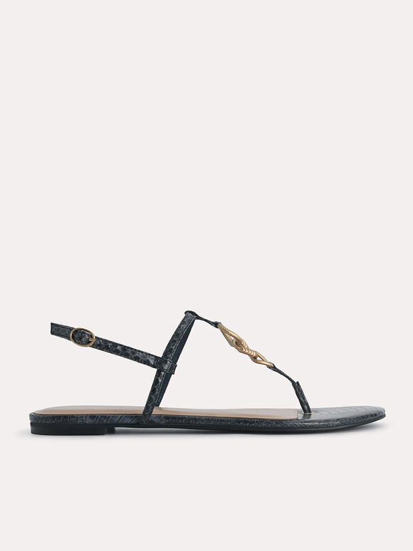 Snake-Effect Strappy Sandals with Gold Links, Slate Blue, hi-res