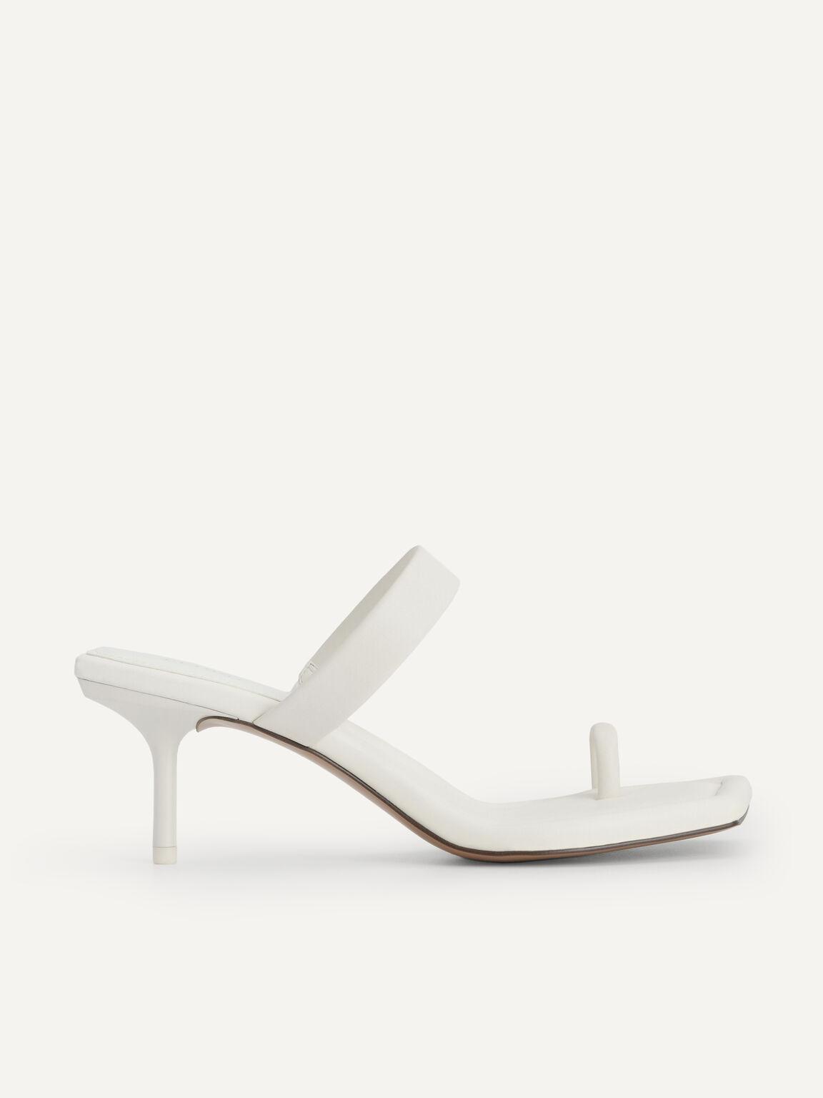 Strappy Toe Loop Heeled Sandals, Chalk, hi-res