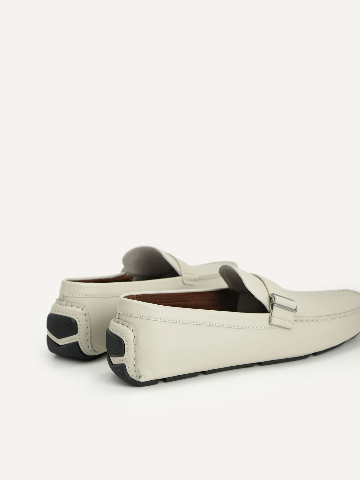 Leather Moccasins with Buckle Detail, Light Grey, hi-res