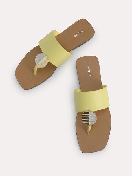 Embellished Thong Flats, Yellow, hi-res