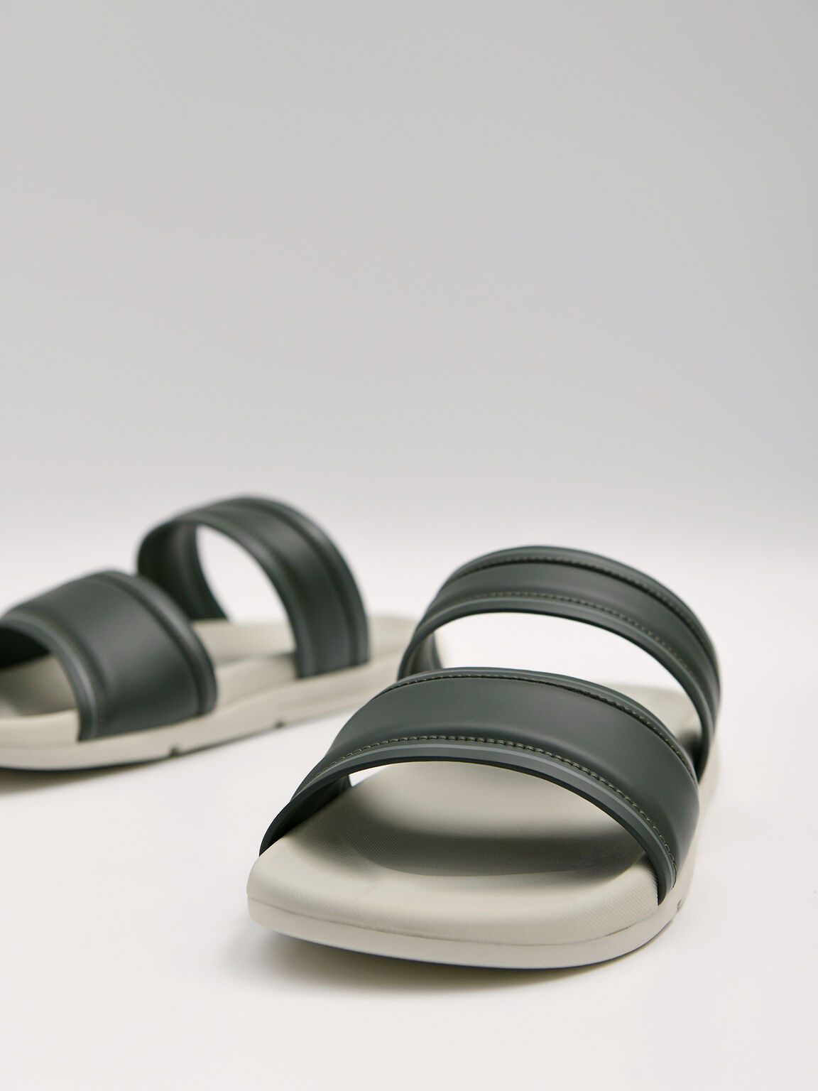 Padded Double Strap Sandals, Military Green, hi-res