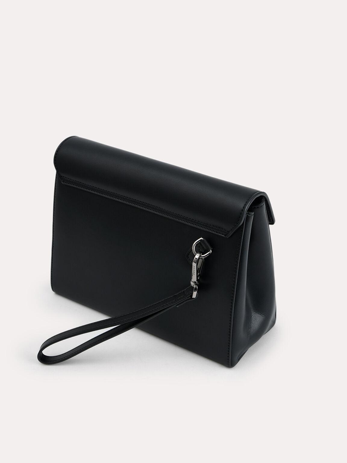 皮革手拿包, 黑色, hi-res