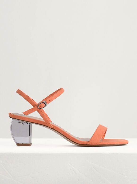 Ankle Strap Sandals with Lucite Heel, Peach, hi-res