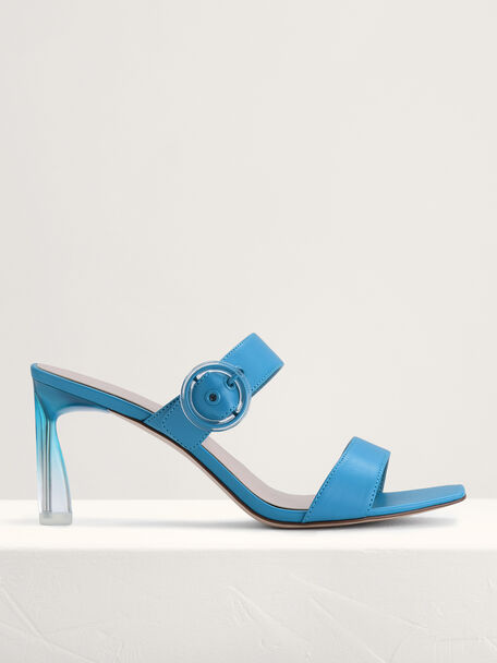 Buckled Heeled Sandals, Turquoise, hi-res