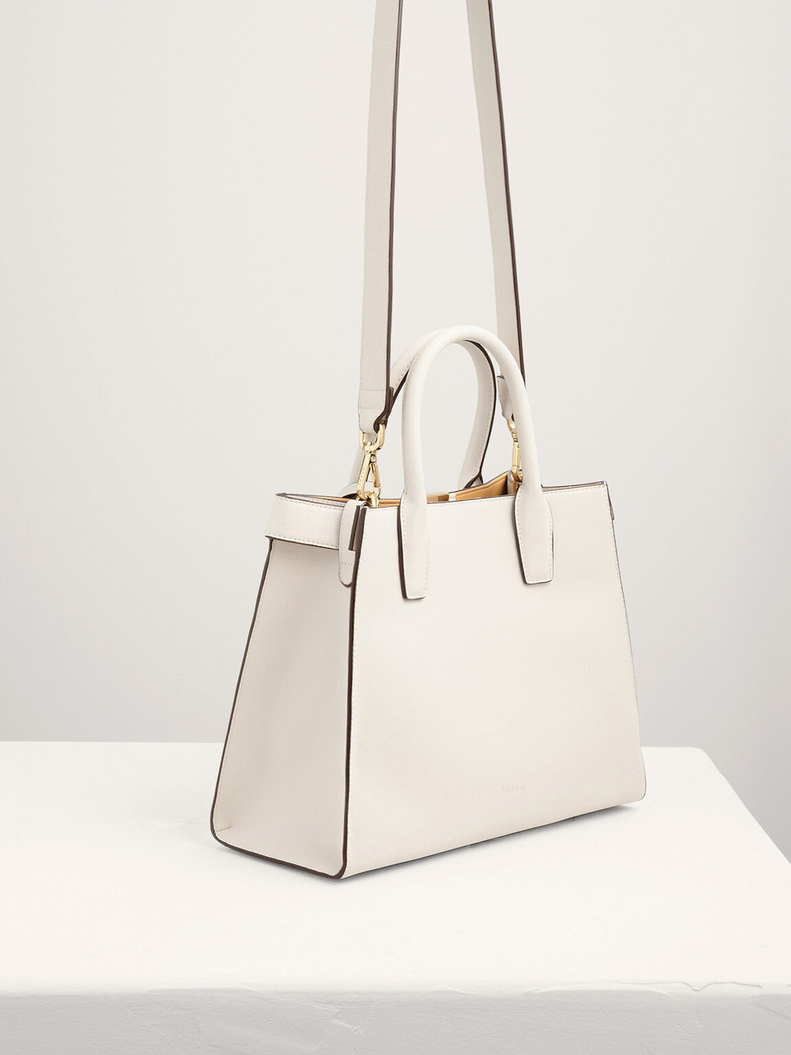 Top Handle Trapezoid Bag, Off White, hi-res
