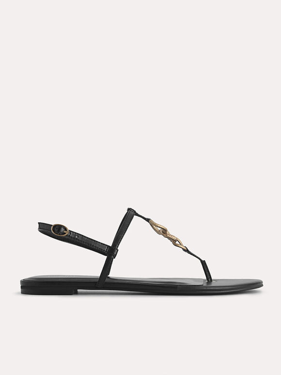 Strappy Sandals with Gold Links, Black, hi-res