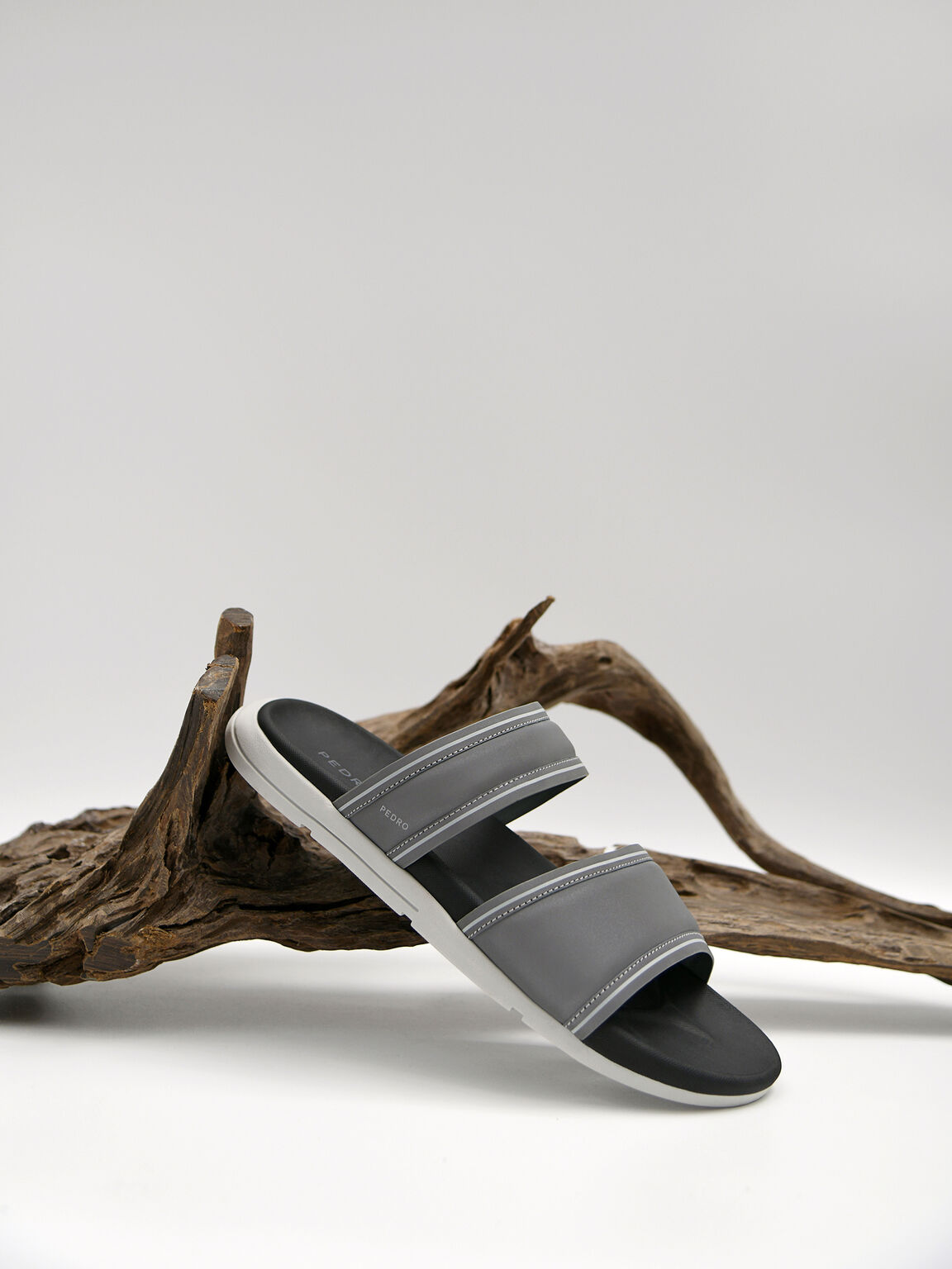 Padded Double Strap Sandals, Grey, hi-res