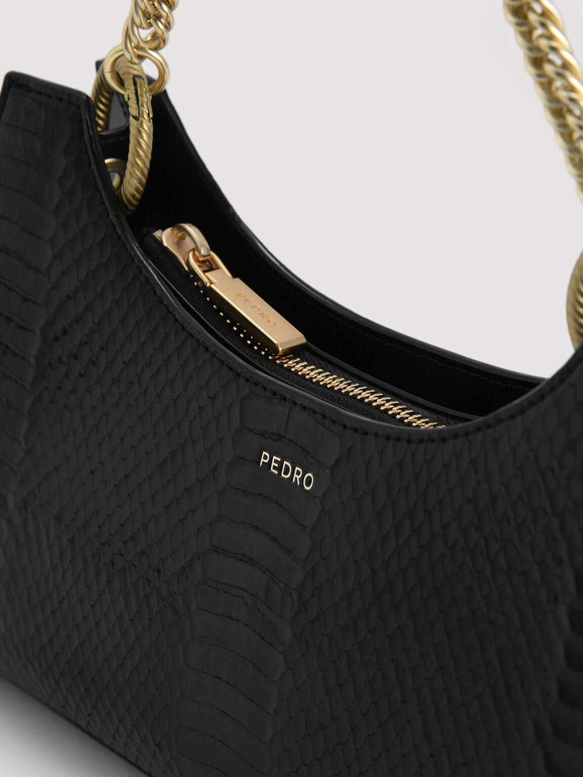 Snake-Effect Shoulder Bag, Black, hi-res