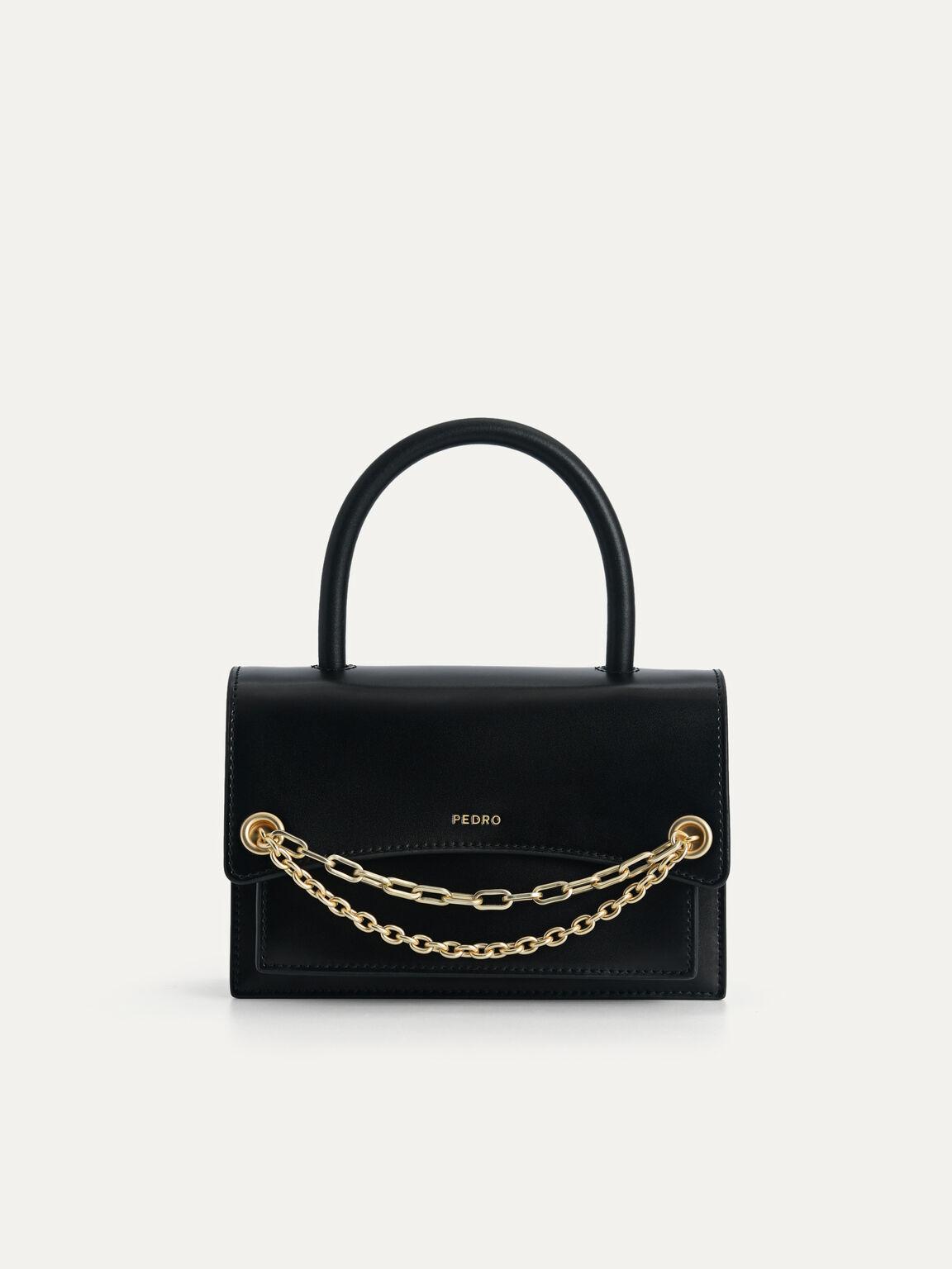 Boxy Leather Top Handle Bag, Black, hi-res