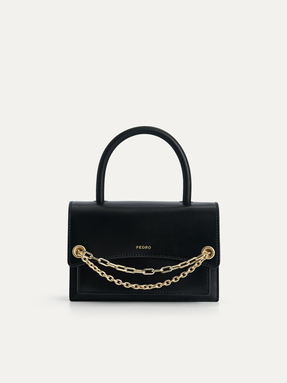 Boxy Leather Top Handle Bag, Black, hi-res