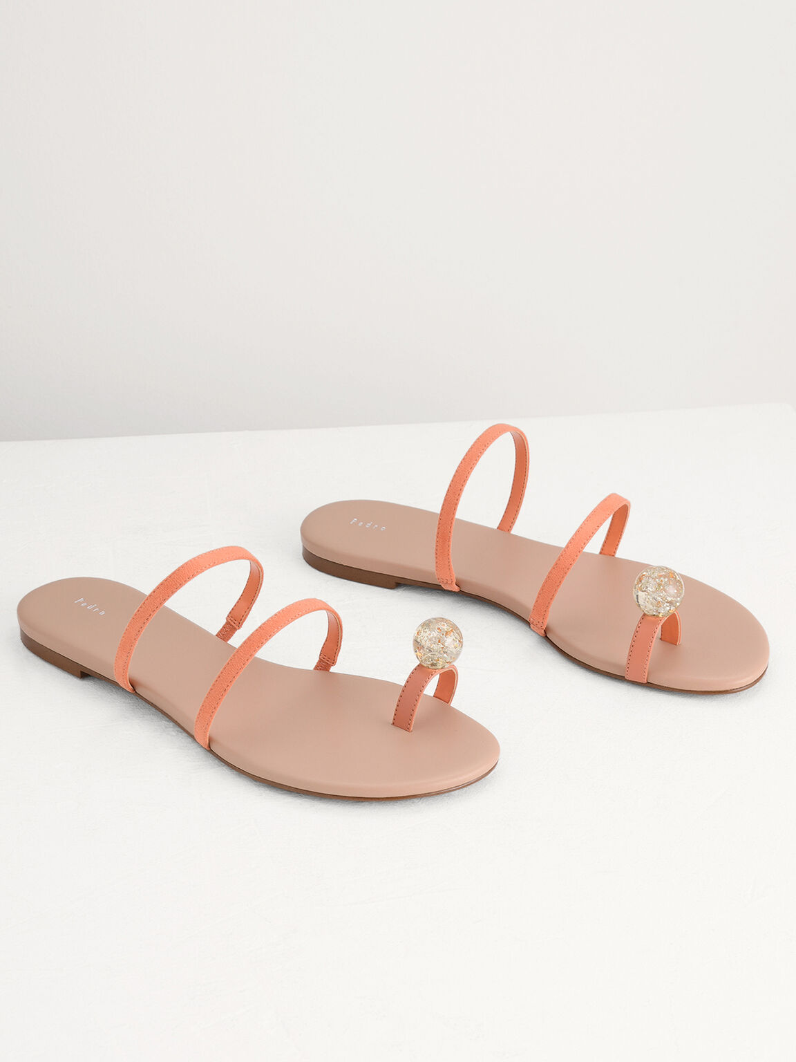 Embellished Toe-Ring Strappy Sandals, Peach, hi-res
