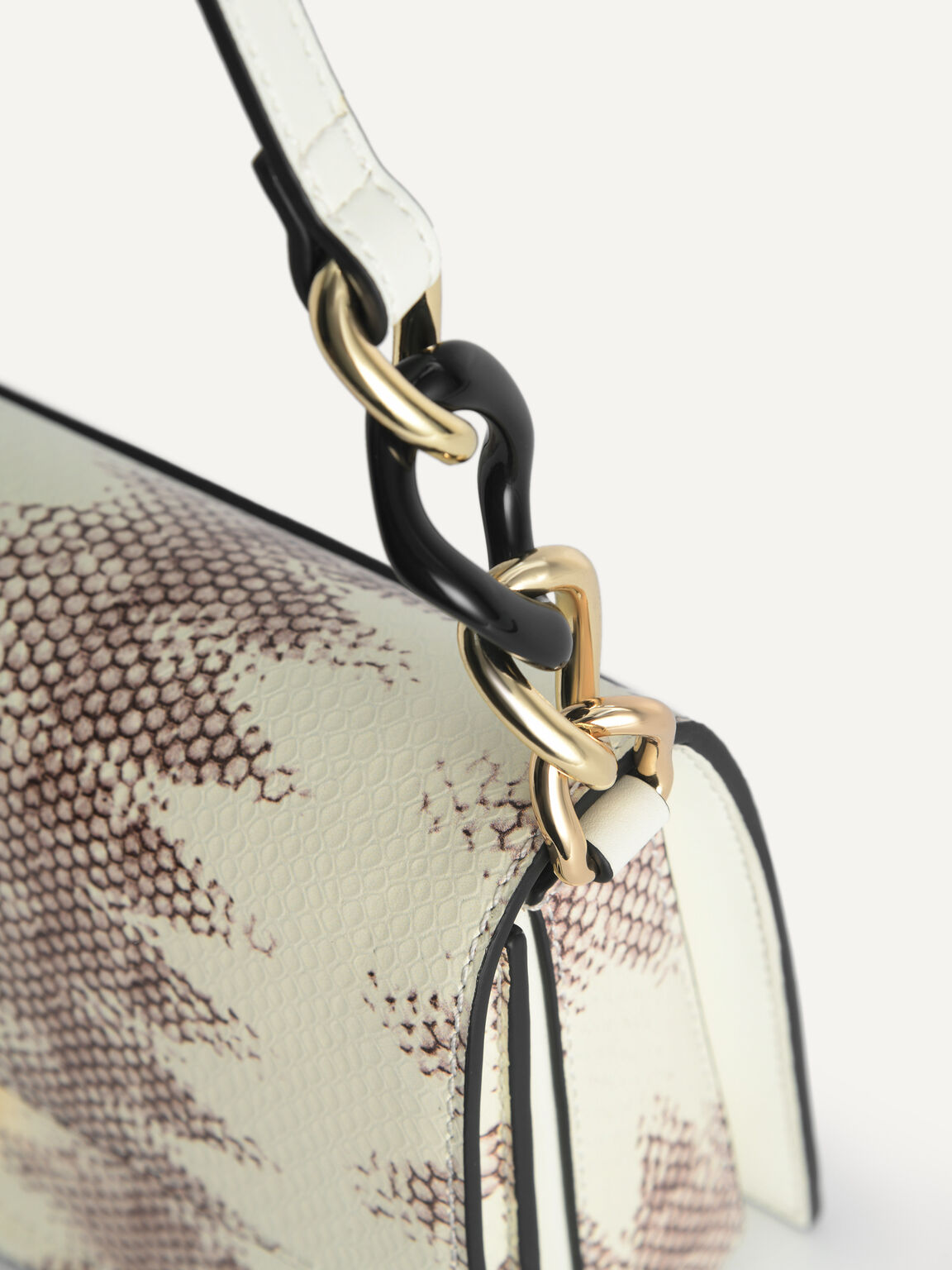 Snake-Effect Leather Shoulder Bag, Multi, hi-res
