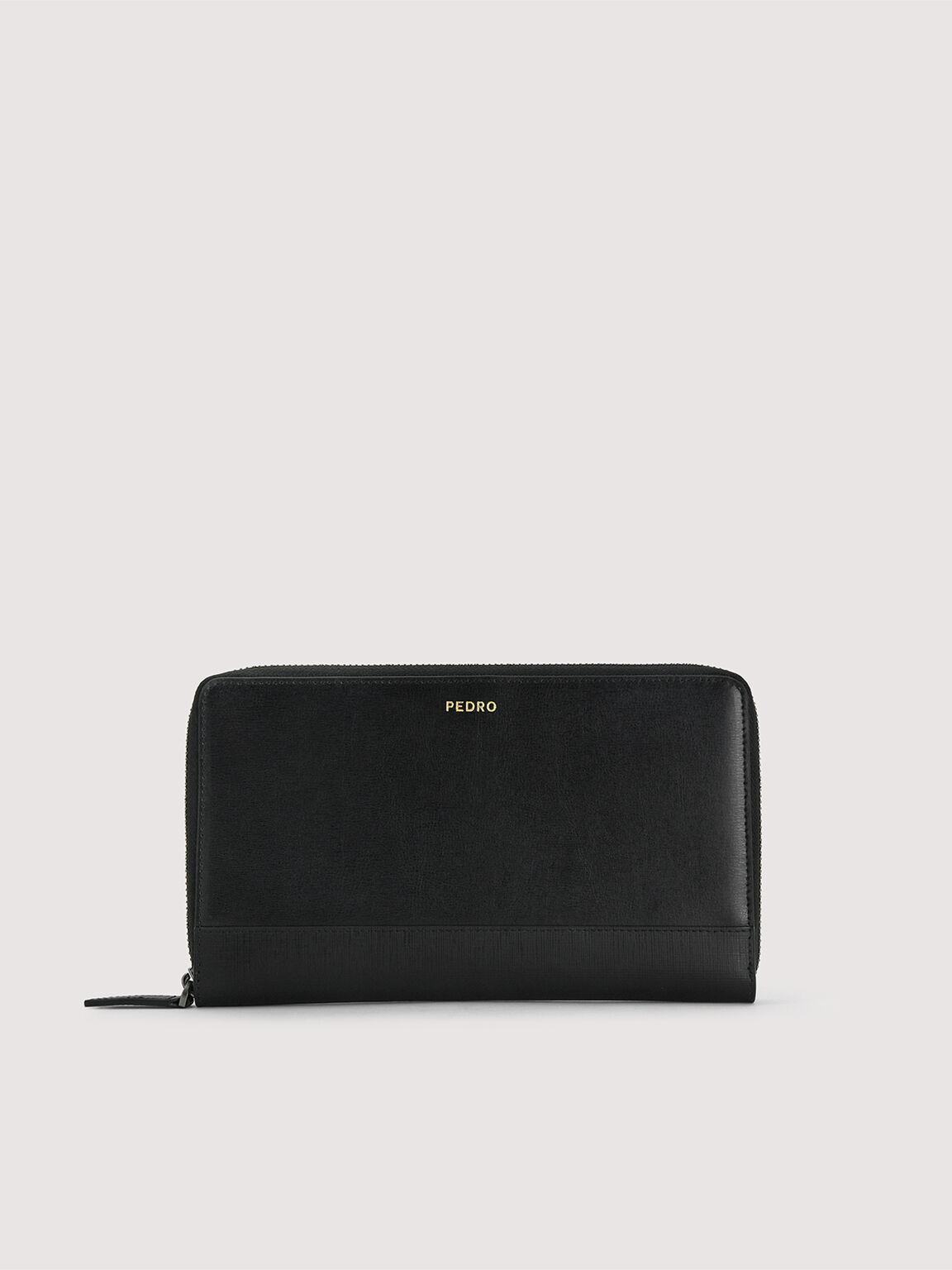 Leather Zip-Around Travel Organizer, Black, hi-res