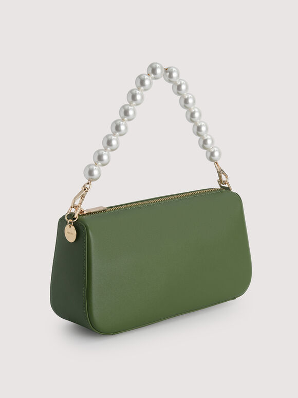 Leather Top Handle Bag with Pearl Detailing, Dark Green, hi-res