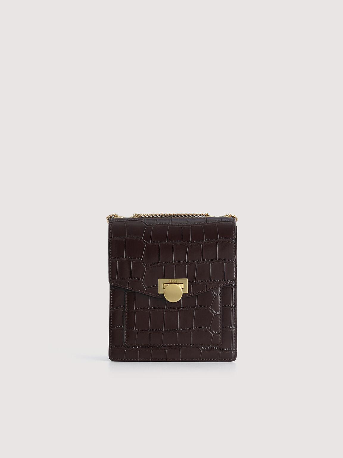 Croc-Effect Leather Shoulder Bag, Mahogany, hi-res