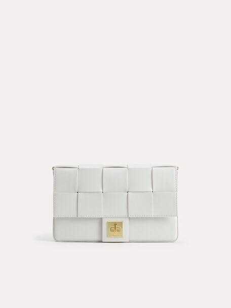 Woven Shoulder Bag, Chalk, hi-res
