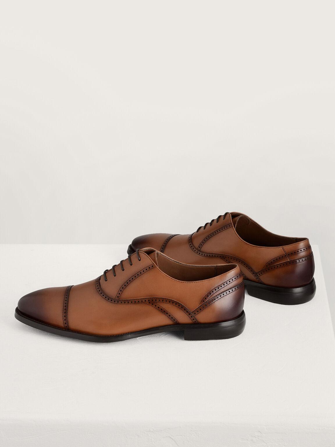 Leather Oxford Brogues, Cognac, hi-res