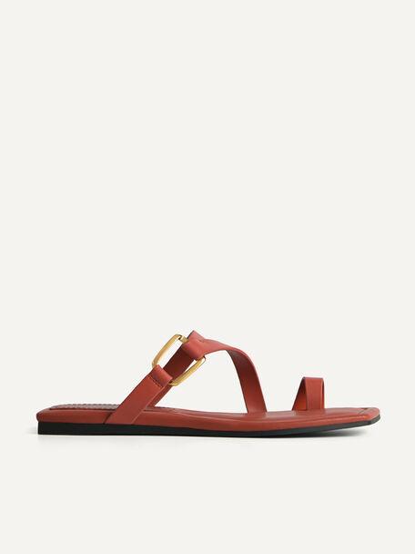 Square-Toe Toe Loop Sandals, Brick, hi-res