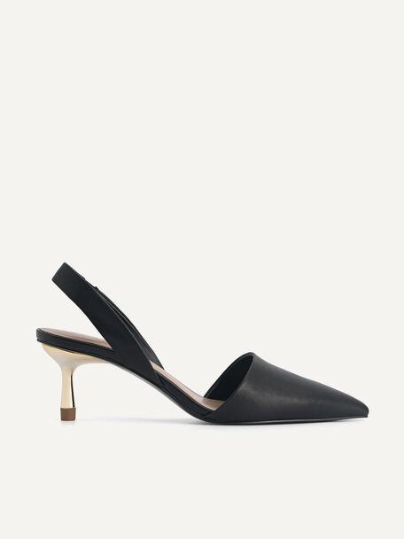 Leather Slingback Heels, Black, hi-res