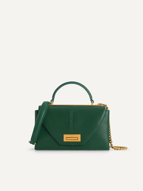 迷你牛皮手手提包, 绿色, hi-res