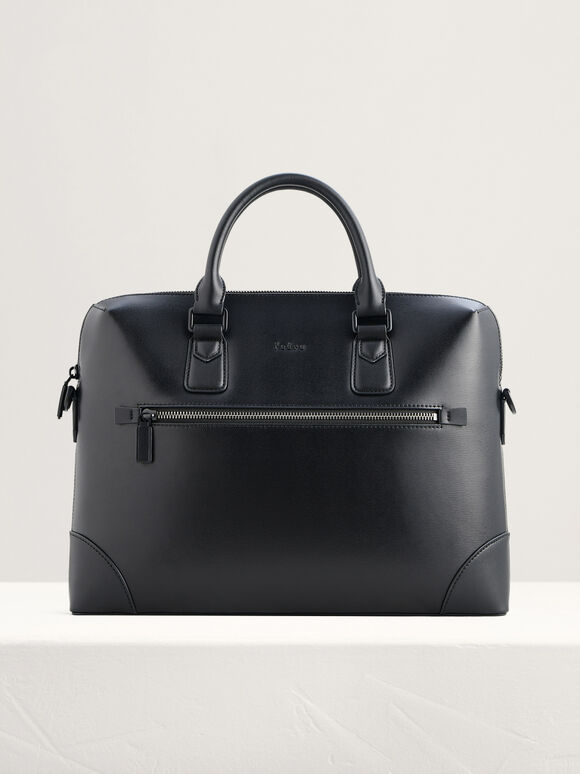 Leather Zipped Briefcase, Black, hi-res