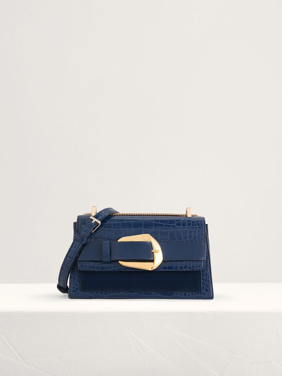 Buckled Croc-Effect Shoulder Bag, Navy, hi-res