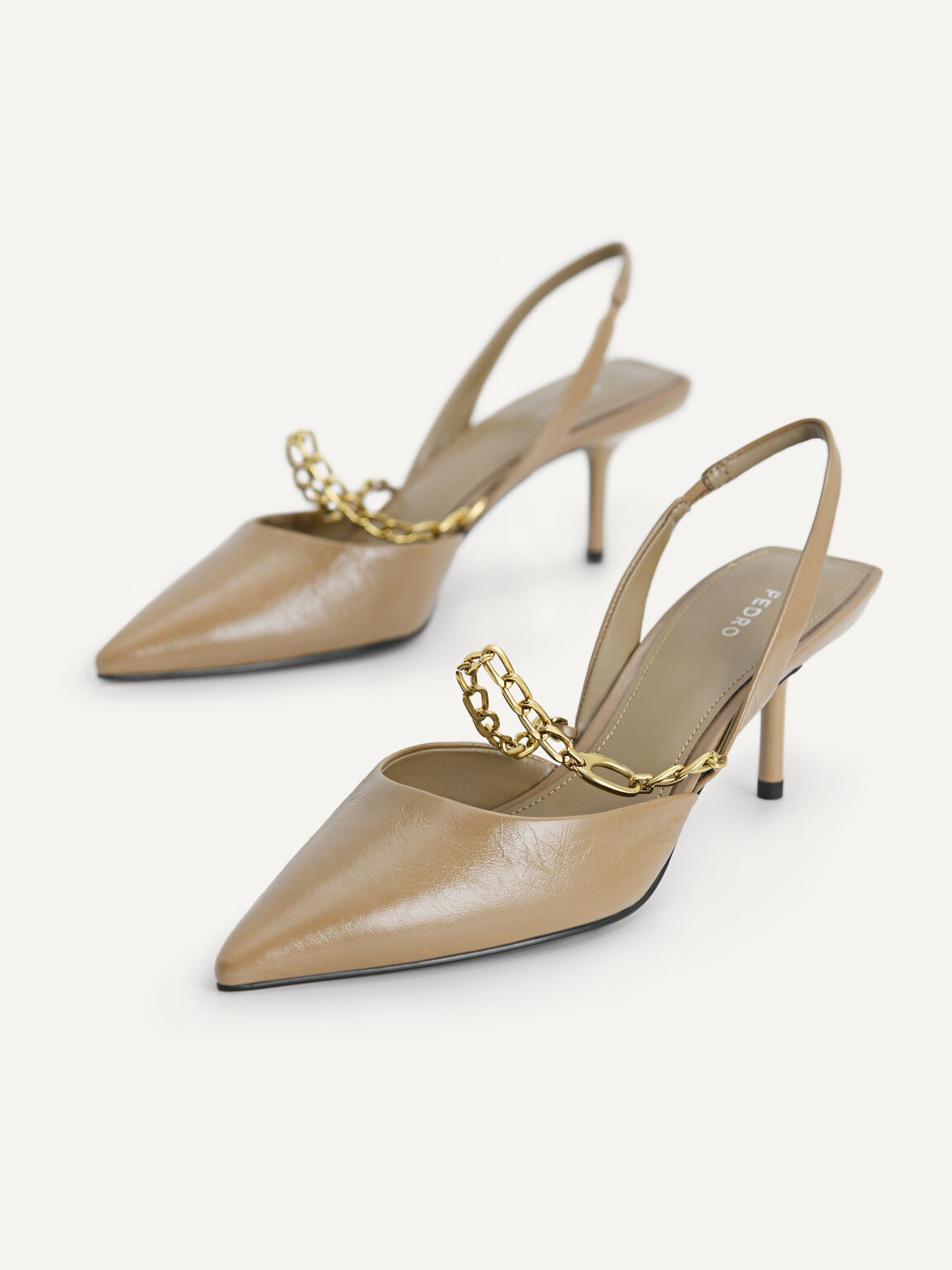 Chain-Strap Leather Slingback Pumps, Taupe, hi-res