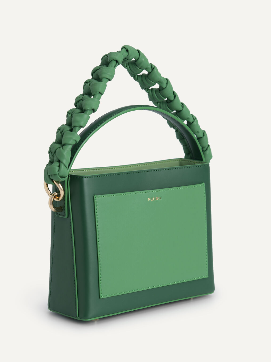 Boxy Top Handle with Braided Strap, Green, hi-res