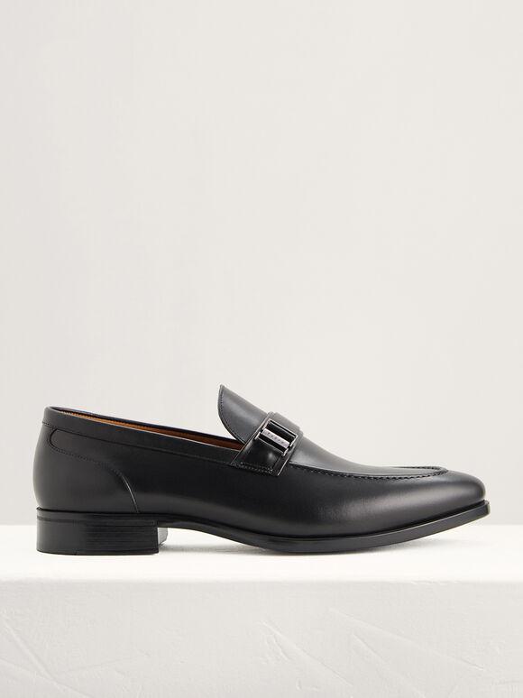 Side Buckled Loafers, Black, hi-res