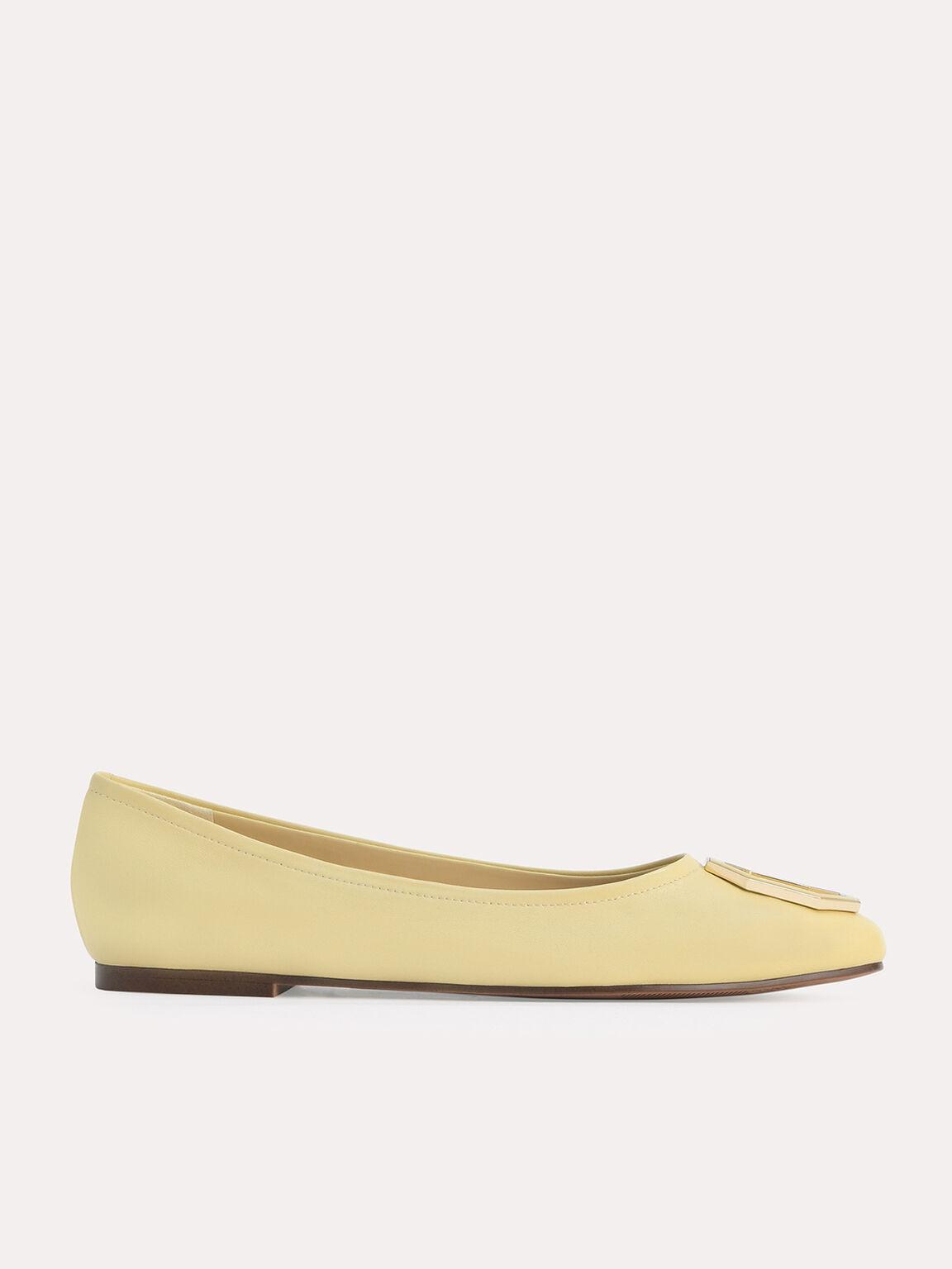 Octagon Buckle Ballerina Leather Flats, Sand, hi-res