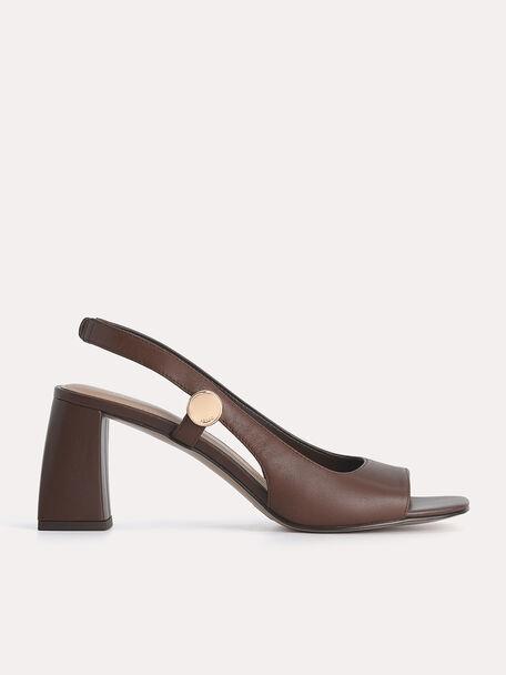 Leather Slingback Heeled Sandals, Dark Brown, hi-res