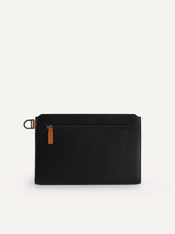 Textured Clutch with Keychain, Black, hi-res